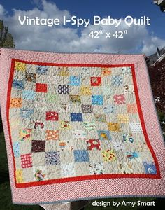 Vintage I-Spy Baby Quilt by Amy Smart Quilt Patterns Lap Quilts, Small Quilts, Patchwork Quilting, Quilt Blocks, Lattice Quilt, I Spy Quilt, Amy Smart, String Quilts, Quilt Festival