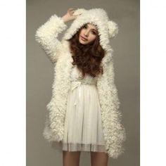$16.51 Cute Bear Ear Design Hooded Long Sleeves White Faux Fleece Coat For Women