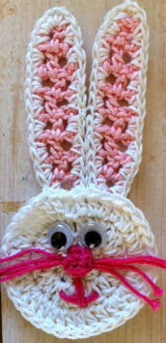 Best Free Crochet » Easter Bunny Face Appliqué