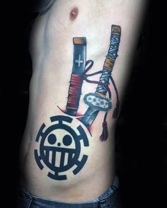 70 One Piece Tattoo Designs For Men – Japanese Anime Ink Ideas Mens One Piece Tattoo On Rib Cage Side With Sword Design Tattoos Masculinas, Body Art Tattoos, Hand Tattoos, Tattoos On Ribs, Tatoos, Law Tattoo, Sword Tattoo, One Piece Tattoos, Pieces Tattoo