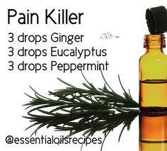 """""""READ BELOW""""! This is the best pain killer combination! I've used it over and over for different kinds of pain on me, and other people. And it works wonderfully! From muscle spasms to sciatic, to hips, feet pain, etc. Apply mix directly to affected ar Essential Oils For Pain, Ginger Essential Oil, Doterra Essential Oils, Young Living Essential Oils, Essential Oil Diffuser, Essential Oil Blends, Peppermint Essential Oil Uses, Elixir Floral, Young Living Oils"""