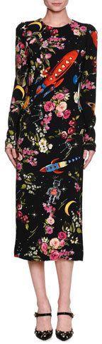 Dolce & Gabbana Rocket Ship Floral-Print Long-Sleeve Midi Dress, Black