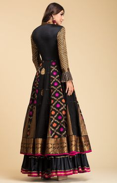 Black Banarsi Anarkali with quilt details on bodice and gota details on sleeves and frills. Indian Wedding Gowns, Indian Gowns, Indian Attire, Pakistani Dresses, Indian Outfits, Indian Wear, Frock Fashion, Fashion Dresses, Women's Fashion