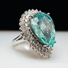 18k White Gold Pear Shape Natural Zircon Diamond Halo Ring - Size 6 - from jkjc on Ruby Lane