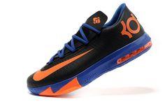 new arrival 9b531 d090f Mens Nike Kevin Durant KD 6 VI Black-Orange Royal Blue Cheap Nike Running