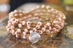 ON SALE Crocheted Beaded  5 Wrap Bracelet  by TrulyAmberJewelry, $32.00