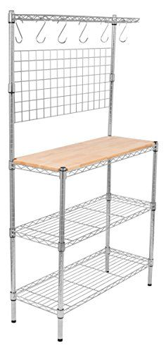 Best Kitchen Cart   Internets Best 3Tier Bakers Rack Chrome Kitchen Storage Shelving Adjustable Wire Stand with Removable Cutting Board and 6 Hanging Hooks -- Check out this great product. Note:It is Affiliate Link to Amazon.