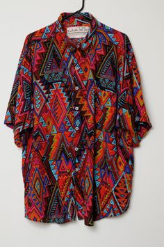 This item is on reserve. 90s Indian Ethnic Multi Colored Short Sleeve Shirt