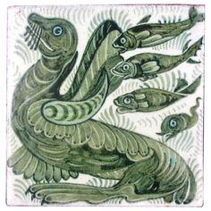 Antique Decorative Objects and Collectibles - For Sale at Antique Tiles, Vintage Tile, Tile Art, Tile Painting, Medieval, William Morris Art, Art Nouveau Tiles, Viking Art, Embroidery Motifs