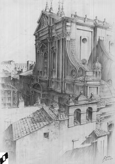 Martyna Bylinka Architecture Drawings, Architecture Design, Academic Art, Fantasy Map, Interior Sketch, Landscape Illustration, Drawing Techniques, Easy Drawings, Art Inspo