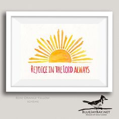 This Sun Beams motif is accompanied by the Bible verse Rejoice in the Lord always (Philippians 4:4). The Art Deco inspired sun evokes a sunrise and a new day, with the Lord always with you.  This made-to-order watercolor painting can be personalized to create an uncommon and beautiful piece of art. You can order it as originally designed, or choose a different inspiring or meaningful phrase to be painted. In addition, you can select your preferred colors from amongst my many color schemes…