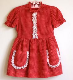This looks perfect for a lil girl named Ruby, right?  Little Girl's Vintage Polka Dot Dress