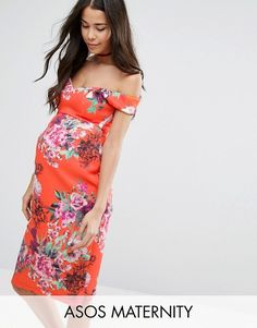 ASOS Maternity   ASOS Maternity Bardot Dress with Sweetheart Neck in Floral Print