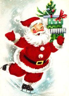 Santa Ice Skating with Presents Vintage Christmas Card