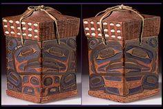 Bella Bella box with opercula. Native Art, Native American Art, Haida Art, Tlingit, Inuit Art, Native Design, Bent Wood, Totem Poles, Indigenous Art
