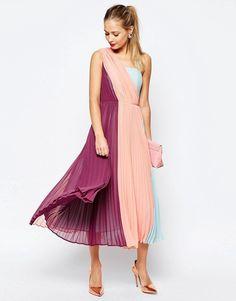 Image 1 of ASOS SALON Premium Color Block One Shoulder Midi Dress