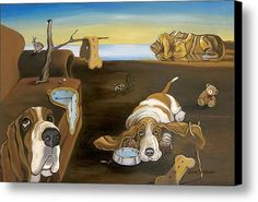 Salvador Doggy - The Persistence Of Basset Hound Canvas Print / Canvas Art By Gretchen Kish Serrano