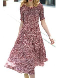 Boat Neck Short Sleeve Tiny Flower Print Dress #womensfashion #pinterestfashion #buy #fun#fashion