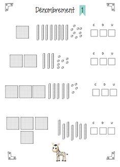 fiches dénombrement centaines-dizaines-unités 1st Grade Math Worksheets, 2nd Grade Math, Math Tables, Math Patterns, Math Sheets, Daily Math, Montessori Math, Math Addition, Math Art