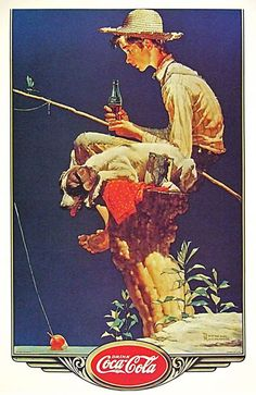 Coca-Cola Fishing Boy And Dog Coke - www.MadMenArt.com | Coca-Cola is more than a brand or a logo. It's a part of American culture - for some people attitude to life and lifestyle. Mad Men Art presents more than 200 vintage Coke ads. #CocaCola #Coke #Cola #VintageAds