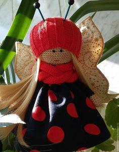 Купить Бабочка - вязаная кукла - ярко-красный, крючком, вязаная игрушка, подарок