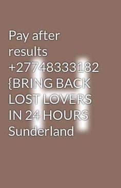 Bring Back Lost Lover, Bring It On, Sunderland, Lovers
