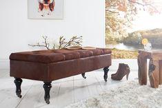 Edle Design Truhenbank BOUTIQUE antikbraun Sitzbank mit Stauraum 110 cm