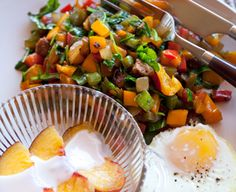 This chorizo-pepper-onion breakfast saute is quick, and perfect for one or a group.