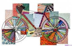 Bicycle textured, Everyone chose a detail and colored each area with colored felt-tip pens, inventing the most various graphic textures to fill the drawing.