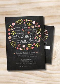 VINTAGE BLACKBOARD Chalkboard Floral Wreath Wedding Invitation/Response Card - 100 Professionally Printed Invitations & Response Cards