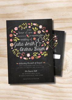Carte d'Invitation/réponse de BLACKBOARD VINTAGE Chalkboard couronne florale mariage - 100 imprimé professionnellement des Invitations & cartes-réponses