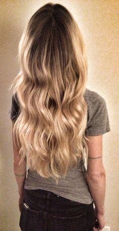 blond wavy hair / ombre / balayage / highlights / beach hair / hair color / line tattoo / ink /