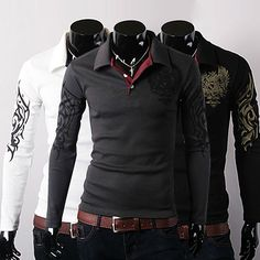 NEW TOP Mens Stylish Slim Fit Casual fashion T-shirts Polo Shirt Long Sleeve #PoloRugby