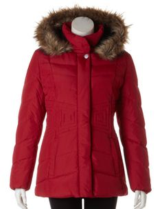 Cleo | Red Square Stitch Coat with Hood, Red #CleoFashion