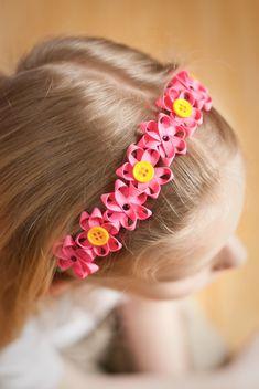 Pretty ribbon flower headband tutorial from sewmccool.com
