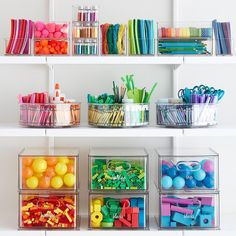 Organizing Toy Parts The Home Edit Toy & Craft Storage Solution Kitchen Organization Pantry, Kitchen Storage, Home Organization, Ikea Kitchen, Konmari, Craft Storage Solutions, Kids Craft Storage, The Home Edit, Chic Desk