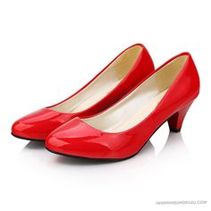 Best Online Shop for Wedding Flats New Arrivals Patent Leather Bride Womens Middle Heel Candy Color WS0604 in 2013