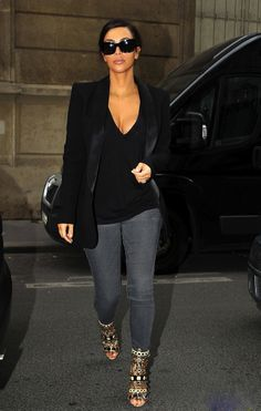 Kim Kardashian Street Style - Casual Business