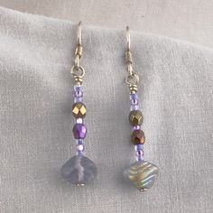 Periwinkle Iridescent Czech Glass Shells and Sterling Silver Earrings   SER47