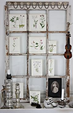 Love old window frames repurposed - such MYRIAD uses!! {And we have several gorgeous ones to choose from!!} #kVintage