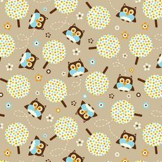 fabric pattern with owls and trees by Heather Dutton