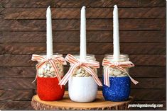 Red White Blue Mason Jar Candles - Patriotic Mason Jars - Patriotic Centerpiece