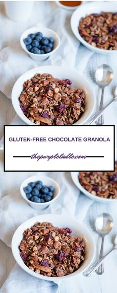 Gluten free chocolate granola perfect to serve for brunch or breakfast with…