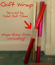 toilet roll tubes used as gift wrap holders. And I knew I shouldn't throw away those toilet paper rolls! Holiday Crafts, Holiday Fun, Ideas Prácticas, Making Life Easier, Toilet Paper Roll, Toilet Tube, Useful Life Hacks, Organization Hacks, Getting Organized