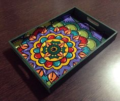 Mandala Art, Mandala Design, Dot Painting, Stone Painting, Pichwai Paintings, Mosaic Tray, Small Canvas Art, Painted Trays, Indian Folk Art