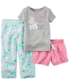 Carter's Baby Girls' 3-Pc. I Woke Up This Cute Dog Pajama Set