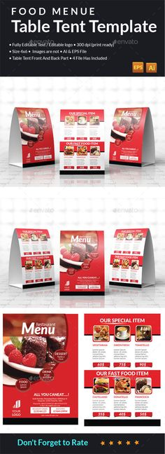 Food Menu Table Tent By Newish Double Sided 2 Ai Eps Files Front And Back 46 Inch Each Side Bleeds Print Ready Cmyk 300