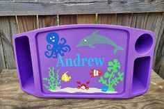 Personalized Lap Tray - Ocean Scene with Fish, Crabs, Dolphin, Octopus by TreasuresTransformed.org