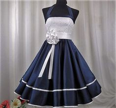 Items similar to The Julie dress by Corinna Couture on Etsy Rockabilly Wedding Dresses, Blue Wedding Dresses, Blue Dresses, Girls Dresses, 50s Wedding, Marine Uniform, Wedding Dress Organza, Dress Stand, Office Dresses