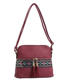 MKF Collection Burgundy & Purple Embroidered Crossbody Bag | zulily